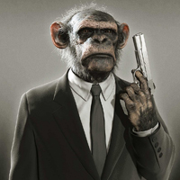 Is that a monkey in a suit?... with a gun?